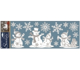 White stickers with metallic effect 57x20 cm, snowmen 10342 7633