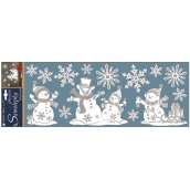 Room Decor White stickers with metal effect snowmen 57 x 20 cm