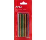 Apli Fusible sticks with glitter 7.5 mm x 10 cm, mix of colors 12 pieces