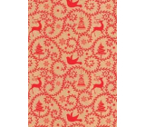 Ditipo Gift wrapping paper 70 x 200 cm Christmas KRAFT red ornaments bells