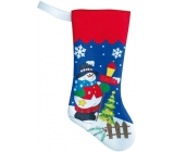 Punčocha se sněhulákem nebo santou na dárky modrá 47 cm 1 kus