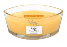 WoodWick Seaside Mimosa - Coast Mimosa scented candle with wooden wide wick and glass boat lid 453 g