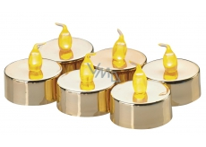 Amber LED candles, 3,8 cm, 6 pcs gold