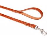 B&F Leather leash switch Grazl pattern acorn leaf color cognac 1.6 x 120 cm