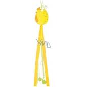 Slepička dřevěná s mašlemi výška 80 cm, 2 barvy, žlutá 1 kus