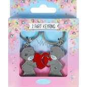 Me to You Two-piece metal keyring 2 hearts 3 x 8 cm