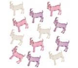 Wooden goats 4 cm, 12 pieces