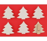Wooden white trees with glitters on a 4.5 cm peg, 6 bark