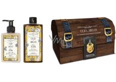 Amovita Olio di Argan Argan oil body lotion 300 ml + shower gel 300 ml + pendant for luck, cosmetic set