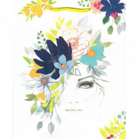 Ditipo Gift paper bag medium white female face with flowers 18 x 23 x 10 cm