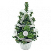 Christmas tree decorated with silver with a 20 cm ribbon