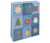 Nekupto Gift paper bag 32.5 x 26 x 13 cm Christmas blue with Christmas motifs WBL 1952 40