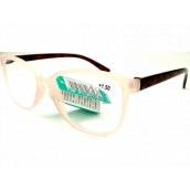 Berkeley Reading glasses +2.5 plastic white transparent matt, burgundy sides 1 piece MC2191