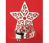 Candlestick metal silver star 9 cm for a tea candle