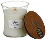 WoodWick Linen - Čistý len vonná svíčka s dřevěným knotem a víčkem sklo malá 85 g