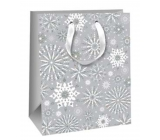Ditipo Gift paper bag Glitter 26.4 x 13.6 x 32.7 cm gray snowflakes