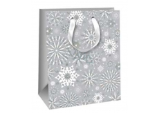 Ditipo Gift Paper Bag Glitter gray snowflakes 26.4 x 13.6 x 32.7 cm