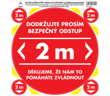 Arch Safety and information pictograms Floor sticker Safe distance 2 m, red 21 x 23 cm