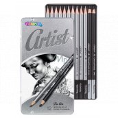 Colorino Artist drawing set of graphite pencils and charcoals, round, 10 pencils and soft and hard charcoal, metal box