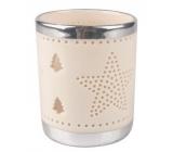 Svícen porcelánový bílý se stříbrným lemem s hvězdou 8,2 cm