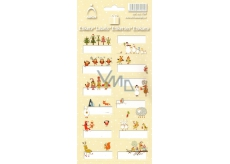 Arch Christmas labels stickers Animals yellow arch 12 labels