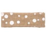 Jute ribbon with white circles width 6 cm, 2 m