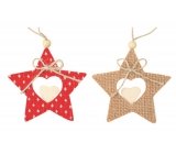 Star red and jute 9 cm, 2 pcs in bag