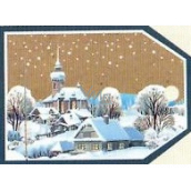 Nekupto Christmas gift cards Snowy church and houses 5.5 x 7.5 cm 6 pieces
