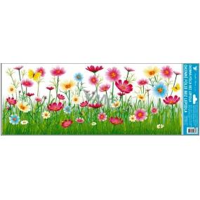 Room Decor Window foil without glue meadow pink flowers stripe 60 x 22, 5cm
