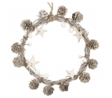 White Wreath with Stringes and Stars 19 cm 1827 5792