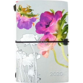 Diary luxury watercolor flowers gray