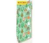 Nekupto Gift paper bag for a bottle 33 x 10 x 9 cm Christmas, trees 1819 50 WLH