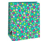 Ditipo Gift paper bag 26 x 32.5 x 13.8 cm green colored flowers