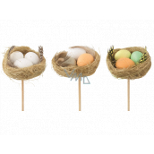 Nest with eggs 5,5 cm + skewers of different colors 1 piece