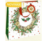 Nekupto Gift paper bag luxury 33 x 33 cm Wreath with holly Christmas WLIL