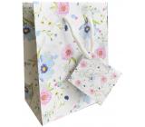 Nekupto Gift paper bag 14 x 11 x 6.5 cm White with flowers 2001 02 KFS