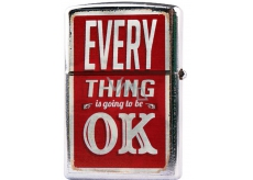 Bohemia Gifts & Cosmetics Retro metal gasoline lighter with print Everything Is Ok 5.5 x 3.5 x 1.2 cm