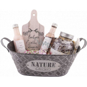 Bohemia Gifts Rose tinsel hair shampoo 200 ml + shower gel 200 ml + bath salt 1200 ml + soap in a can of 80 g + decorative cutting board, cosmetic set