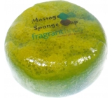 Fragrant Cocoa Glycerine massage soap with a sponge filled with the scent of Channel Coco perfume in green-yellow 200 g