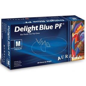 Aurelia Delight Blue PF Disposable vinyl gloves without powder size M box 100 pieces