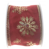 Ditipo Ribbon fabric with wire 2 mx40 mm red gold snowflakes