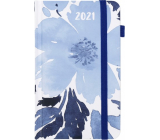 Albi Diary 2021 pocket with rubber band Blue flowers 15 x 9.5 x 1.3 cm