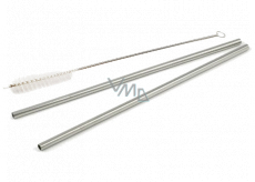 Nekupto Do not plastic Stainless steel straws 2 pieces + cleaning brush, eco set