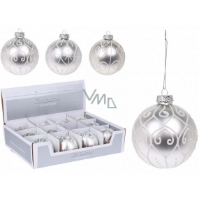 Tree ball glass silver mix 80 mm 1 piece