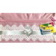 Donau Gimboo School case with zipper pink heart 22 x 12 cm