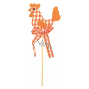 Cloth hen, orange checkered recess 7 cm + skewers