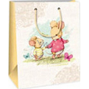 Ditipo Gift paper bag 18 x 10 x 22.7 cm white two mice
