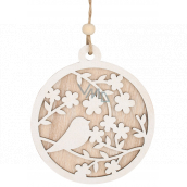Round wooden decoration with bird for hanging 12 cm
