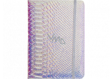 Albi Block holographic lined with rubber band Blue-silver 19.5 x 14.2 x 1.5 cm