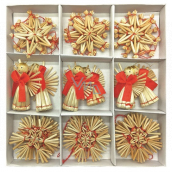 Straw ornaments in a box of about 6 cm 30 pieces